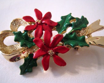 Brooch, Gerry's Christmas brooch, vintage pin, poinsettias, red, green enamel, gold-tone