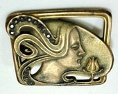 Antique Art Nouveau Brass Brooch/Pin Woman's Head with Flowing Hair, Vintage Jewelry