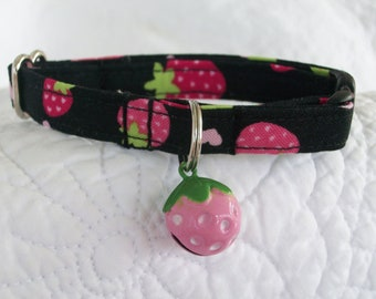 Strawberry  Cat  Collar Breakaway Collar Custom Made