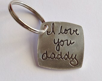Father's Day Your Actual Writing-Silver Keychain-To Daddy from Daughter or Son