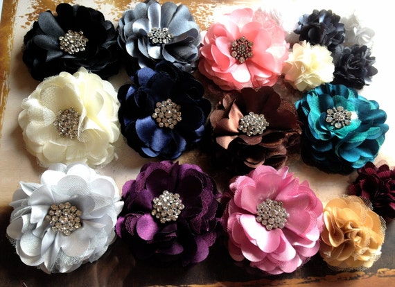 Tulle and satin flower clip  with rhinestones in ivory, pink, rose, silver, grey, black, eggplant, brown, navy, teal. Wedding accessory