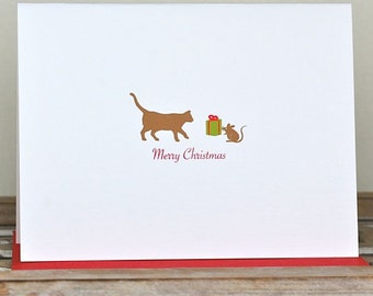 Christmas Cards, Cats, Mouse,  Holiday Cards, Cat Christmas Cards,  Christmas Card Set,  Holiday Card Set, Holiday