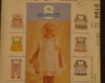 McCalls Girl's Pinafor Dress Pattern 9194 Size 1-3