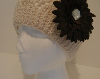 Crocheted  Hat with Brown Flower Clip