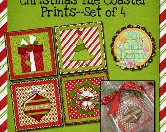 Christmas Tile Coaster Prints --Set of 4