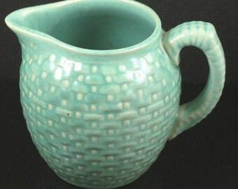 Vintage Weller Pottery Pierre Pattern Blue Green Milk Pitcher