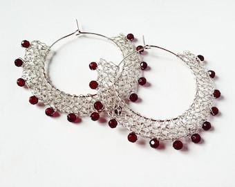 burgundy sterling silver wire crochet hoop earrings - garnet burgundy beads