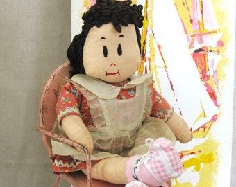 Vintage Rag Doll, Folk Art Lulu Doll, Handmade Doll, Cloth Doll, Female, Character Doll , Folk Art Doll , Vintage Dolls , Female Doll