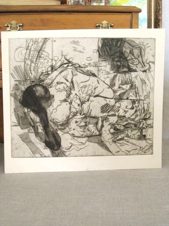 Fine Art Print , Female , Fine Art , Art , Unframed , Etching Print 1978 , Female Portrait , Portrait , Girl , Loose Art