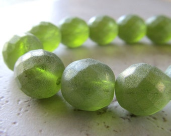Designer Czech Glass 12mm Faceted Matte Frosted & Gold Dusted Olive Green Rounds - 6 Pieces