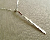 Long Sterling Silver Bar Necklace, Long Hammered Bar Necklace, Sterling Silver Bar Necklace, Long Silver Pendant, Delicate Silver Chain