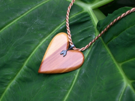Heart Pendant Red Cedar  (dragon fly approved) (free shipping)