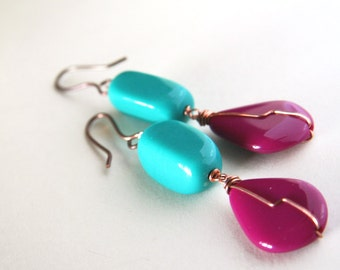 teal and purple earrings - 80s style colorful cool