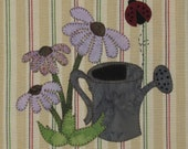 Summer Coneflowers Applique PDF Pattern for Tea Towel