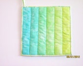 Ombre Potholder  in Hand Dyed Shades of Aqua and Seafoam Green