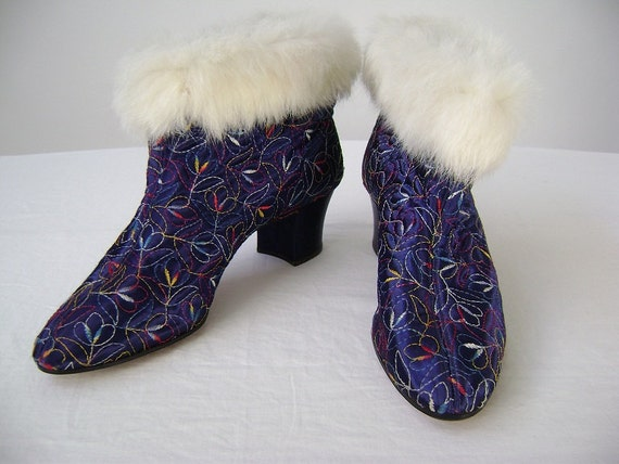 RESERVED for Karan 40s Slippers for the Boudoir / Boot Style / Royal Blue Embroidered Satin with White Rabbit Fur Trim / 7N / Burlesque