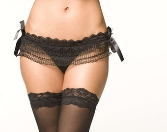 Black Lingerie Panties - Lace Skirted Thong - Large