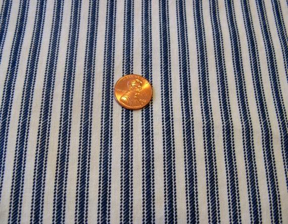 "Vintage 50s Navy Blue & White Striped Ticking Fabric, 44 x 31"""
