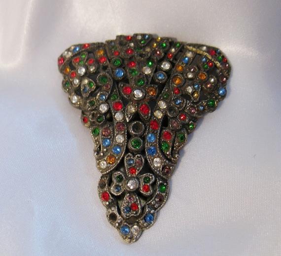 Vintage Art Deco Multi Color Rhinestone Fur Or Dress Clip