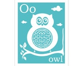O is for owl 8x10 inch print