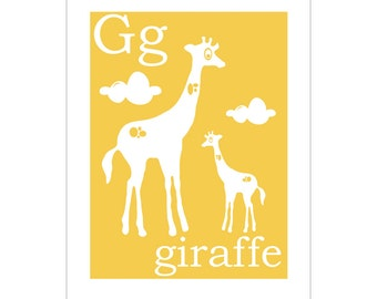 G is for Giraffe 8x10 inch print by Finny and Zook