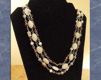 White Quartz Necklace Sterling Silver Banded Jasper Gemstone Beaded Strand Statement  (M-150)