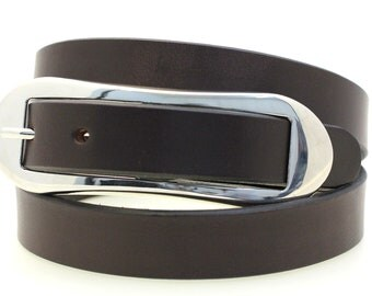 "Made In USA Women's Thin 1"" Dark Brown Havana Bridle Leather Hip Or Waist Belt  Over-sized Oval Buckle"