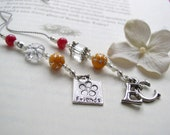 Monogrammed Friendship Beaded Bookmark with Friend and Initial Charms- Book Thong in Flamingo Pink and Neon Orange with Crystal Accents