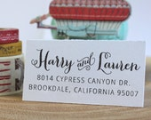 Personalized Rubber Stamp - Custom Calligraphy Stamp - Eco Mount Address Stamp  - Chandler