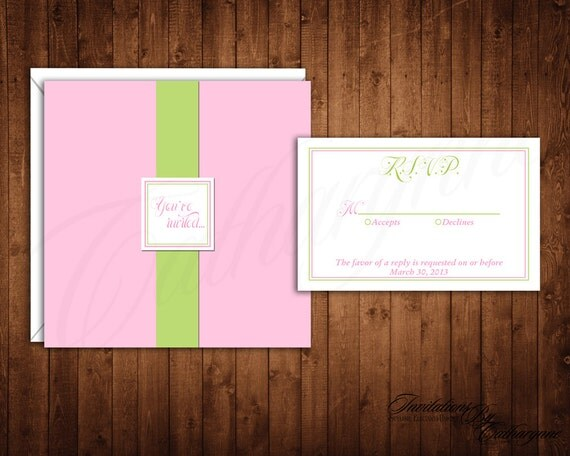 Pink and Green Wedding Invitations, Pink Summer Bridal Shower Invitation, Pocket Invitation, Green and Pink Invitation, Spring Invitations