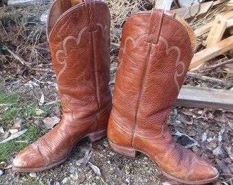 Vintage J Chisholm Distressed Brown Leather Cowboy Boots  Man's Size 10 1/2 EE