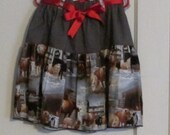 Christmas Skirt - Horses, ponies & farm animals Celebrate Christmas, Size 5