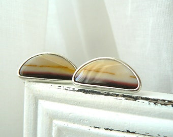 Sterling silver and Mookaite Cufflinks - READY TO SHIP