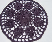 SALE - Crocheted Dark Purple Doilies Set of Two, Table Decor, Purple Pineapple Dolies, Round Doily,