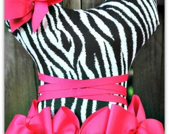 Zebra Ballerina  Tutu hair bow holder with shocking pink