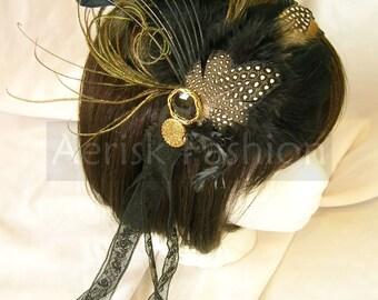 Steampunk Feather Fascinator - Empress design - CHOOSE between headband, comb or hair clip