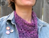 Hand Crocheted Little Scarflette Scarf Shawl in Soft Wood Blend in Multicolored Pink and Purple Yarn