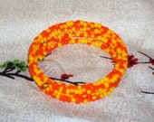 CORN CANDY Glass Seed Beads Memory Wire Wrap Coil Bracelet