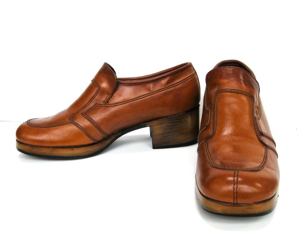 1970s mens leather disco platform shoes by vintagegalorestore