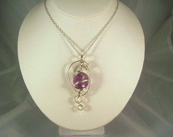 Amethyst Silver Wire Pendant