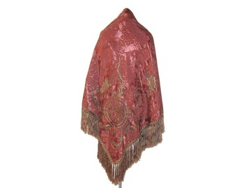 Sale Vintage Victorian Silk Brocade Embroidered Fringed and Lined Piano Shawl Wrap or Tablecloth