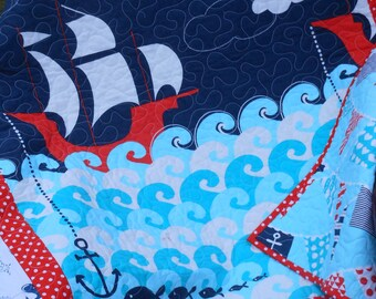 Ahoy Matey baby boy crib quilt -- nautical, blue, ship, ocean -- MaDe To OrDeR