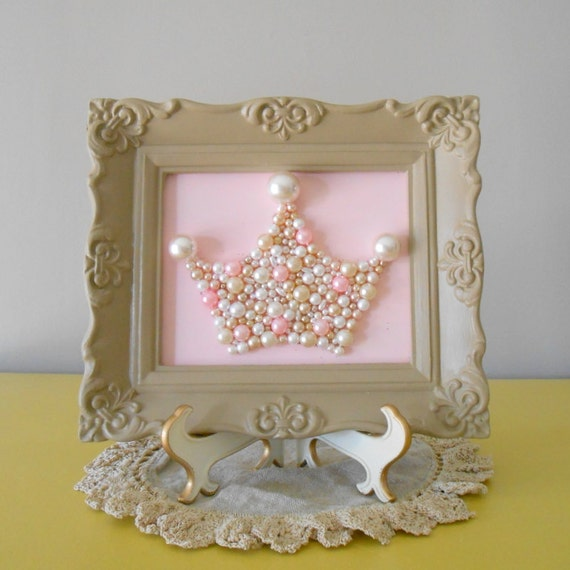 Pearl princess crown art.  Mosaic wall art.  Pastel pink and taupe. Painted ornate frame.  Shabby chic girls room. Sparkle glitter picture.