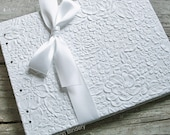 White Guest Book, Unique Guest Book for Wedding or Bridal Shower, White Blossom {MADE upon ORDER}
