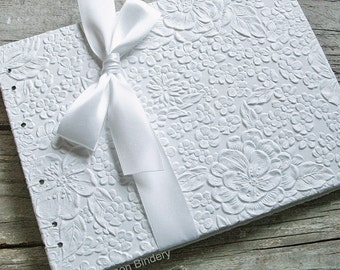 White Wedding Guest Book, Bridal Shower Guest Book, Baby Shower Guest Book, White Blossom {MADE upon ORDER}