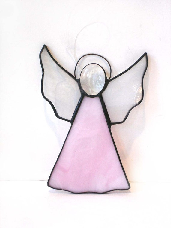 Angel suncatcher pink ornament, stained glass decoration window art faith