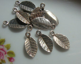 Oxidized Sterling Silver Tiny Leaf Stamping Pendant Charm, Great for Stamping Dangle, The Duchess Tiny Leaf Earrings, Bulk 12 pcs, 13x7mm