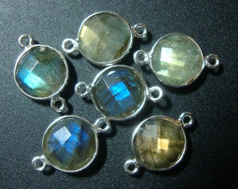 Flashing Blue Green Fire Labradorite Round Sterling Silver Bezel Rim Connector, 16x10mm, 6 pcs - reduced from 31.00
