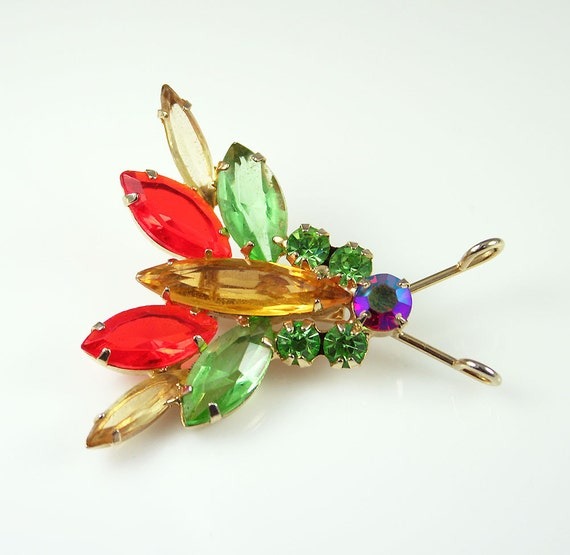 Vintage Juliana Delizza and Elster Rhinestone Insect Brooch