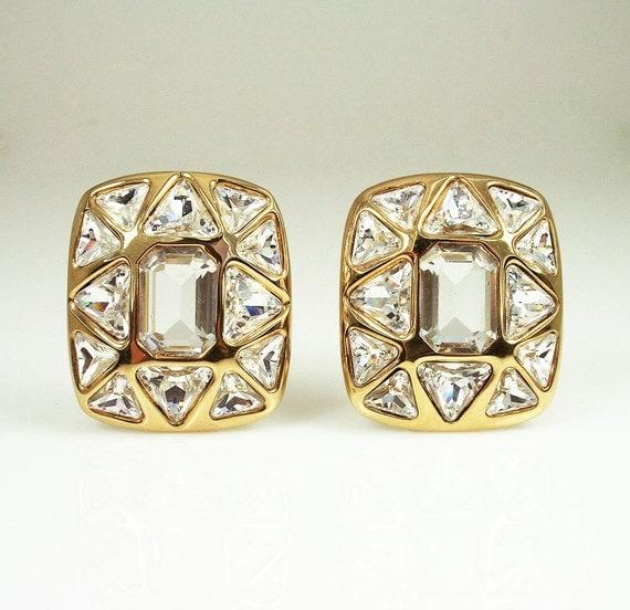 Vintage Swarovski SAL Mod Crystal Gold Earrings